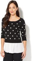 New York & Co. 7th Avenue - Scoopneck Twofer Sweater - Dot Print
