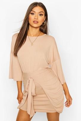 boohoo Drop Shoulder Tie Detail Jersey Dress