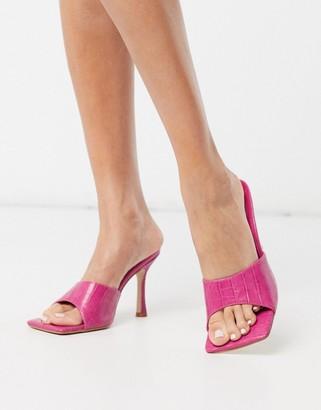 Public Desire Harlow square toe mule sandals in pink croc