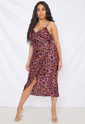 Missguided Plus Size Brown Leopard Print Ruched Side Dress