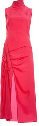 Off-White Dna Spiral Tie-Detailed Cotton Midi Dress