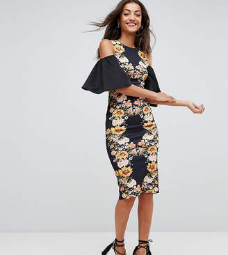 Asos Tall TALL Mirror Printed Cold Shoulder Midi Bodycon Dress-Multi
