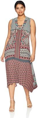 One World ONEWORLD Women's Plus-Size Sleeveless Lace Up Neck Metro Dress