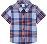 Gap Blue and Orange Plaid Short Sleeve Shirt