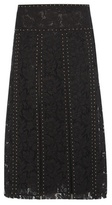 Valentino Embellished Pleated Lace Skirt