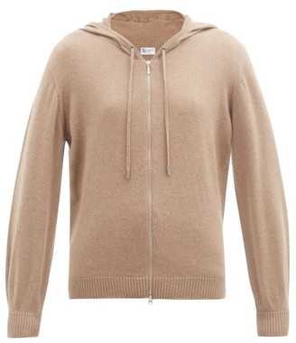 Johnstons of Elgin Marla Zipped Wool Hooded Sweater - Dark Beige