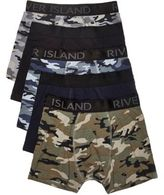 River Island Dark Green Camo Hipster Multipack