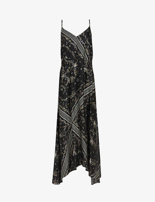 AllSaints Larisa Assam-print silk-blend slip dress