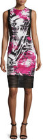 Carmen Marc Valvo Sleeveless Floral-Print Sheath Dress W/ Mesh