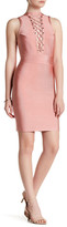 Wow Couture Mock Neck Embellished Crisscross Dress