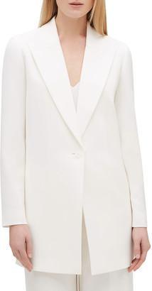 Lafayette 148 New York Kourt Peak-Lapel One-Button Finesse Crepe Jacket