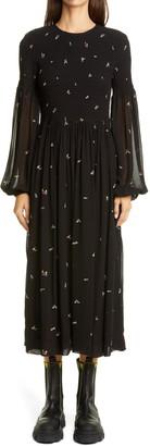 Ganni Floral Smocked Bodice Long Sleeve Georgette Midi Dress