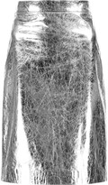 DKNY Metallic cracked-leather pencil skirt