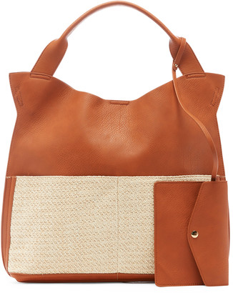 Sole Society Women's Jamari Tote Genuine Suede Over Cognac Combo Genuine Suede Vegan Leather From