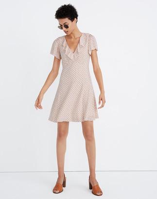 Madewell Ruffle Flutter-Sleeve Dress in Cutout Blooms