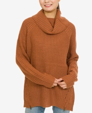 PINK ROSE Hippie Rose Juniors' Cowl-Neck Zip-Detail Sweater