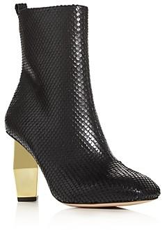 Kurt Geiger Women's Daxon Snake-Embossed High-Heel Booties