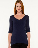 Le Château Slub Knit V-Neck Relaxed Fit Sweater