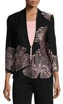 Misook Petal Pop Jacket, Black/Pink, Plus Size