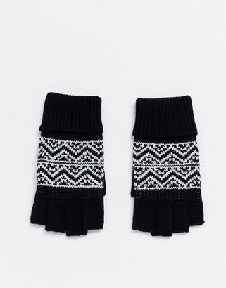 ASOS DESIGN fingerless gloves in black with fairisle design