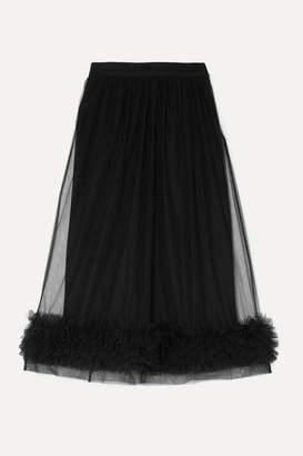 Molly Goddard Leonie Ruffled Tulle Midi Skirt - Black