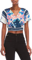 Flying Tomato Cropped Floral Surplice Top
