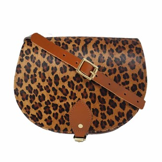 N'damus London Leopard Print Leather Saddle Bag In Tan With Back Pocket