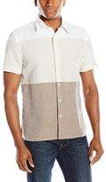 Perry Ellis Men's Engineered Horizontal Linen Stripe Pattern Shirt