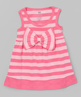 Hudson Baby Pink Stripe Big-Bow Scoop Neck Dress