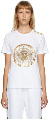 Balmain White 3-Button Coin T-Shirt
