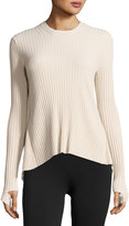 Helmut Lang Ribbed Open Tie-Back Sweater, Metal