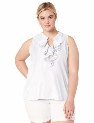 Chaps Women's Plus Size Ruffled Cotton Sleeveless Top