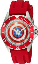 Marvel Men's 'Captain America' Quartz Stainless Steel and Rubber Casual Watch, Color: (Model: WMA000010)