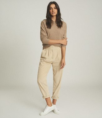 Reiss Nina - Cashmere Crew Neck Jumper in Oatmeal