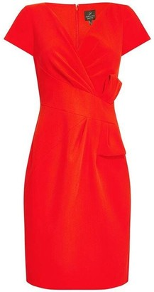 Adrianna Papell Bow Waist V-Neck Sheath Dress