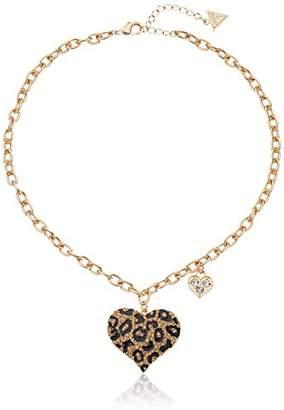 "GUESS Basic"" Gold Cheetah Heart Pendant Necklace"