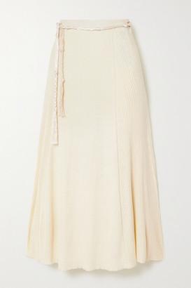 Jil Sander Ribbed Cotton Midi Skirt - Cream
