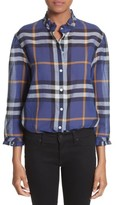 Burberry Women's Salla Check Print Cotton Shirt