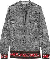Diane von Furstenberg Elenora Printed Silk-twill Blouse - Black
