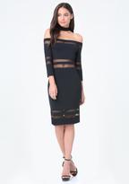 Bebe Mesh Inset Choker Dress