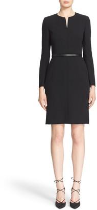 Akris Belted Zip Front Wool Blend Dress