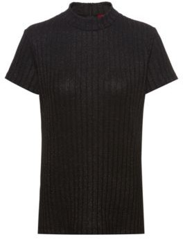 HUGO BOSS - Slim Fit T Shirt In Metalized Yarn With Mock Neck - Red