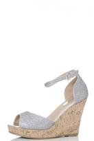 Quiz Silver Shimmer Ankle Strap Cork Wedges