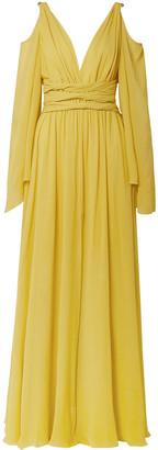 Dundas Cold-shoulder Gathered Silk-georgette Gown