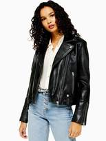 Topshop Leather Classic Biker Jacket - Black