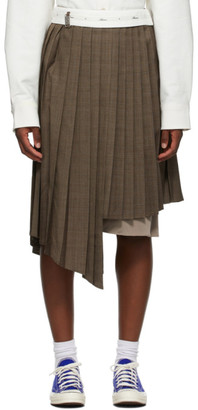 Ader Error Brown Check Conak Mid-Length Skirt
