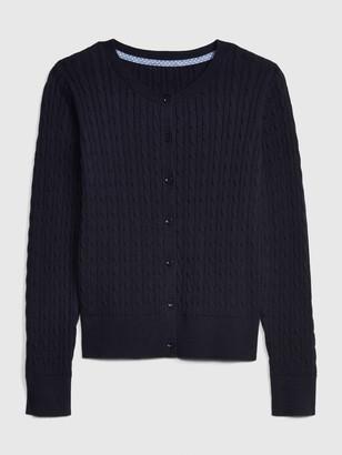Gap Kids Uniform Cable-Knit Cardigan Sweater