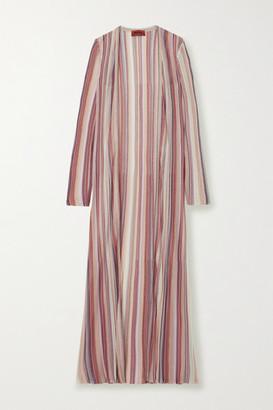 Missoni Metallic Striped Crochet-knit Cardigan - Pink