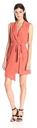 MinkPink Women's Little Lolita Sleeveless Faux Wrap Shirt Dress