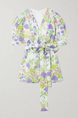 Les Rêveries Belted Smocked Floral-print Cotton-poplin Playsuit - Purple